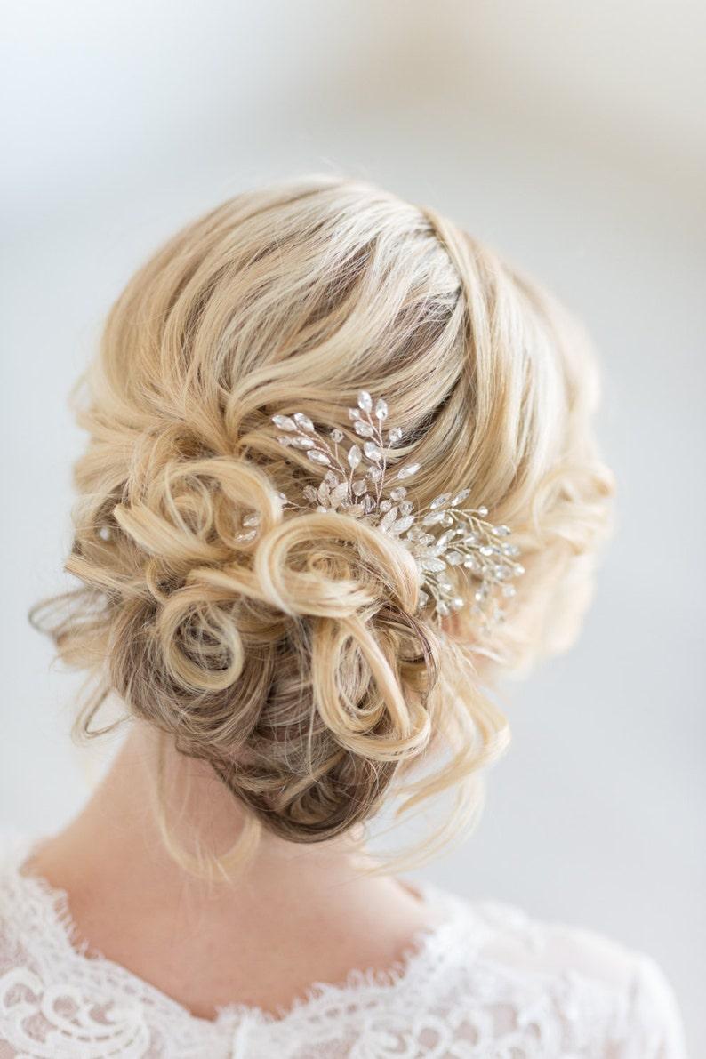 Bridal Hair Comb Pearl Wedding Hair Comb  Gold Crystal Hair image 1