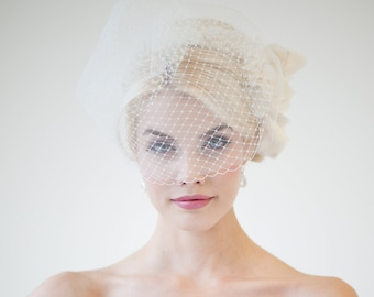 Wedding Birdcage Veil, Double Birdcage Veil, Bridal Veil, Wedding Veil, Short Net Veil - JUNE