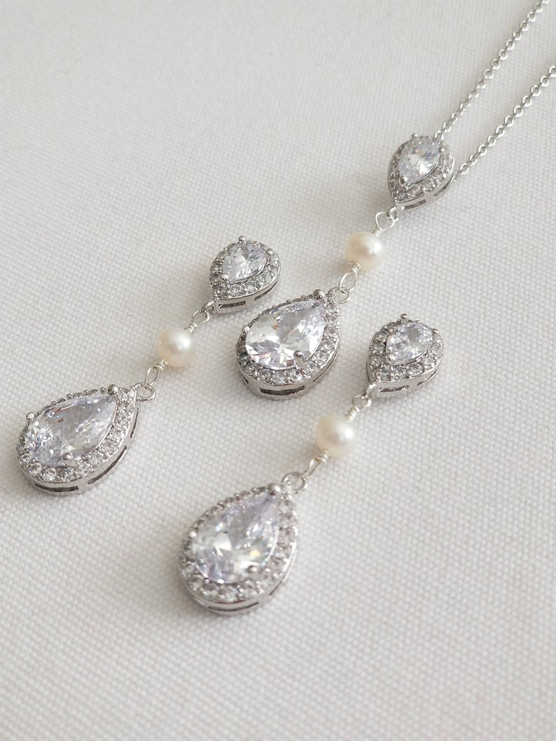 CZ Bridal Earrings Wedding Jewelry Bridal Necklace /& Earrings Pearl Bridal Jewelry Set