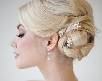 Pearl Bridal Hair Pins, Wedding Hair Pins, Real Freshwater Pearl Hair Pin Set, Crystal Pearl Hair Pin Set For The Bride
