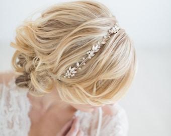 Wedding Hair Vine, Gold Bridal Headpiece, Silver Bridal Headband, Wedding Gold Leaf Hairpiece, Crystal Hair Vine
