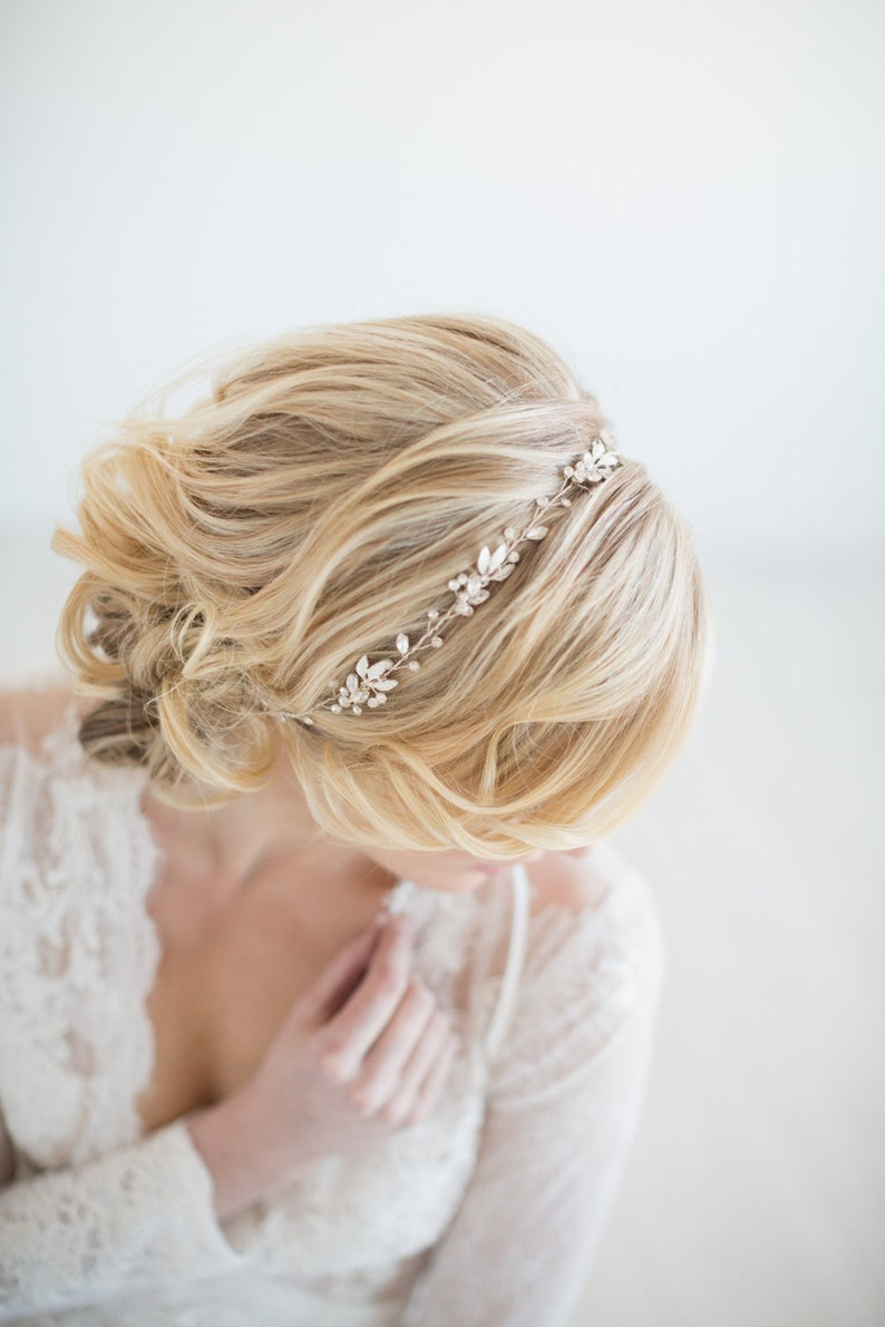 Wedding Hair Vine  Gold Bridal Headpiece Silver Bridal image 0
