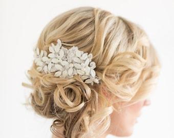 Wedding Headpiece, Floral Lace Bridal Headpiece,  Lace Bridal Hair Comb, Wedding Hair Accessory, Leaf Headpiece