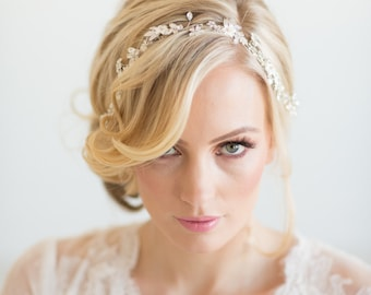 Wedding Hair Vine,  Silver Wedding Hair Vine, Gold Bridal Headpiece, Boho Headpiece, Bridal Hairpiece, Floral Wedding Hair Vine