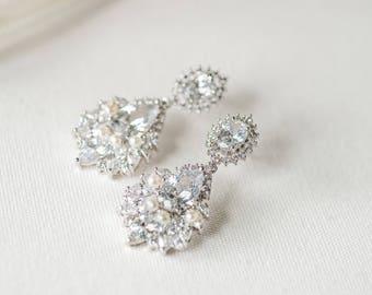 CZ Wedding Earrings, Bridal Earrings, Pearl Cubic Zirconia Earrings, CZ Drop Earrings