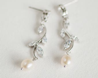 Wedding Earrings,  CZ Bridal Earrings, Wedding Jewelry, Freshwater Pearl Wedding Earrings