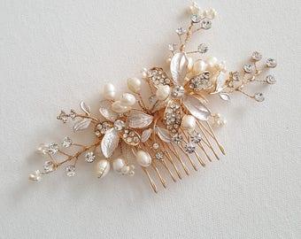 Wedding Hair Comb, Wedding Headpiece, Crystal Pearl Bridal Comb, Gold Bridal Headpiece, Rose Gold Pearl Bridal Comb