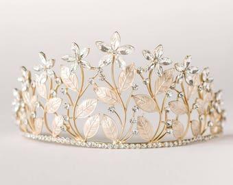 Gold Bridal Crown, Gold Wedding Tiara, Gold Wedding Hair Accessory, Wedding Headpiece, Bridal Hairpiece