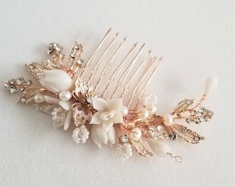Rose Gold Wedding Hair Comb Porcelain Flowers, Rose Gold Floral Wedding Hair Comb, Crystal Clay Flower Bridal Hair Comb
