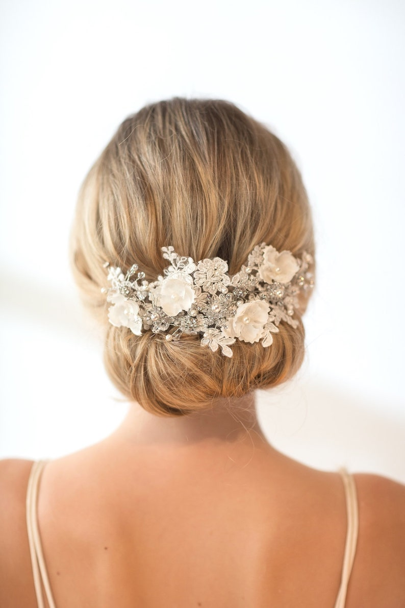 Wedding Lace Headpiece  Pearl Beaded Lace Vine Wedding image 0