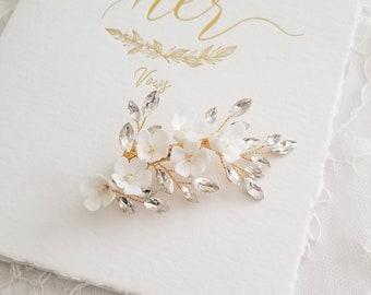 Gold Wedding Hair Clip Porcelain Flowers, Small Silver Floral Wedding Hair Clip, Clay Flower Bridal Hair Clip