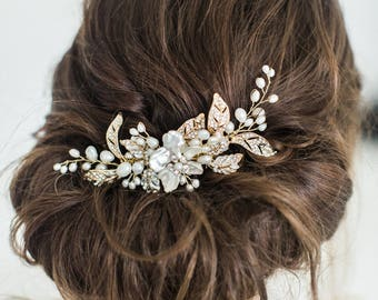 Wedding Hair Comb, Gold Bridal Hair Comb, Pearl Hair Comb, Gold Wedding Headpiece