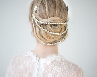 Bridal Pearl Headpiece, Wedding Hair Combs, Wedding Back Draped Headpiece, Pearl Hair Combs