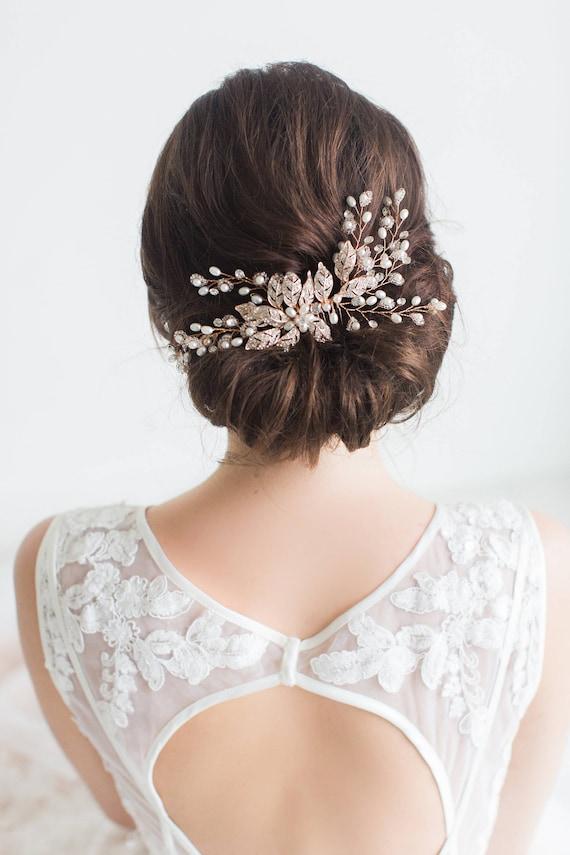 Classic Bridal Comb Crystal Pearl Leaf Headpiece Rhinestone Hair Piece Bridesmaid Side Comb Spring Wedding Rose Gold Wedding Hair Comb