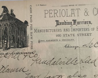 Antique Letterhead for PERIOLAT & CO.  FURRIERS, Chicago 1887' -- Free Shipping