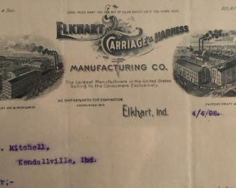 Antique Letterhead for ELKHART CARRIAGE & HARNESS Manufacturing Co. -- Elkhart, Indiana 1898' -- Free Shipping