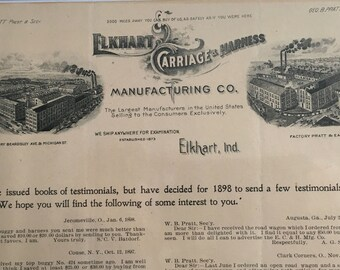 Antique Letterhead/Testimonial Page for ELKHART CARRIAGE & HARNESS Manufacturing Co. -- Elkhart, Indiana 1898' -- Free Shipping