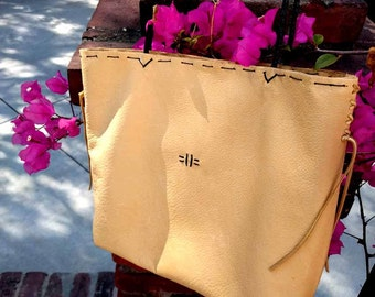 "Pale Yellow Italian Leather Cross Body Tote ""Giulia"" Hand-stitched"