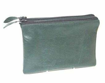 Hunter Green Lambskin Zippered Twin Pouch Cosmetic Case iPhone Wallet Handmade