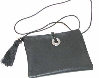 Black Leather Cross Body Yuzu with Tassel & Beads handmade