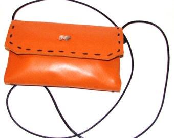 Pumpkin Orange Tangerine Tango Leather Lambskin Clutch or Cross Body Braid Shoulder Bag Handmade