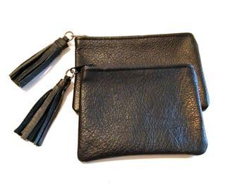 Black Zipper Coin Card Case Tassel Wallet