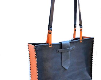 Black Leather Whip Stitch Two Tone School Bag & Script Bag Tote