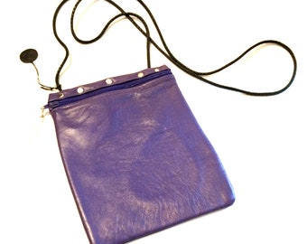 Casey Purple Lambskin Zippered Large Pouch