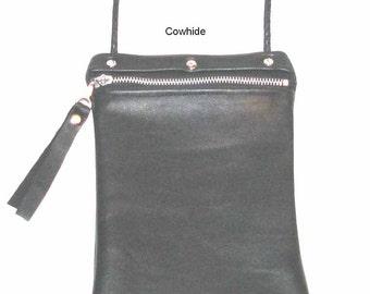 Black Zippered Cowhide Cross Body Pouch Handmade