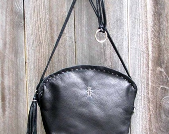 Black Leather Half Moon Paradise Cross Body Tote Handmade