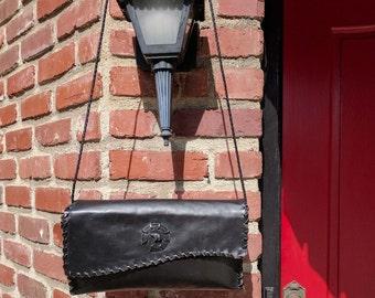 """Black Leather """"Alma"""" Shoulder Bag with Black Bear"""