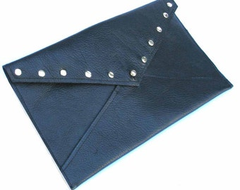Black Cowhide Travel Envelope with Gold Rivets Handmade