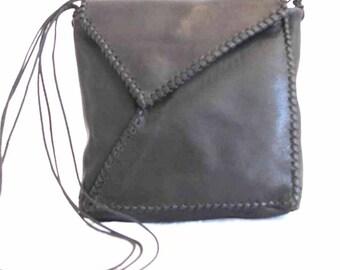 Black Leather Whip Stitch Envelope Shoulder Bag Handmade