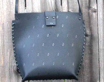 Black French Embossed Rubber Tote Shoulder Bag Eco Friendly Handmade