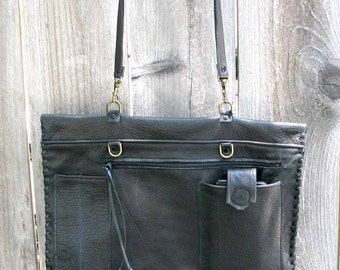 iPad Clutch Portfolio Black Italian Leather Detachable Strap Zipper Pocket, Cell Pocket Handmade