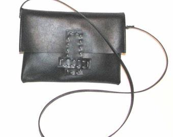 Black Leather Osaka Cross Body Handbag Hand-stitched