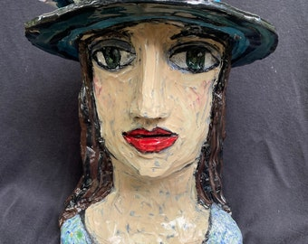 Head vase, lady in blue hat