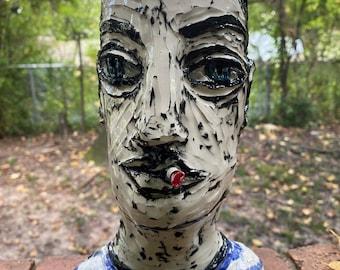 smoking man head vase