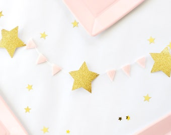 Gold Star Garland  - Star Table Runner - Gold and Pink Felt Garland - Tiny Triangle Star Banner - Princess Nursery Banner - Princess Party
