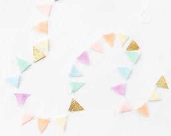 Pastel Rainbow Garland - Tiny Bunting - Pastel Rainbow Baby Shower - Pink Rainbow Decoration - Rainbow Banner - Baby Rainbow Garland