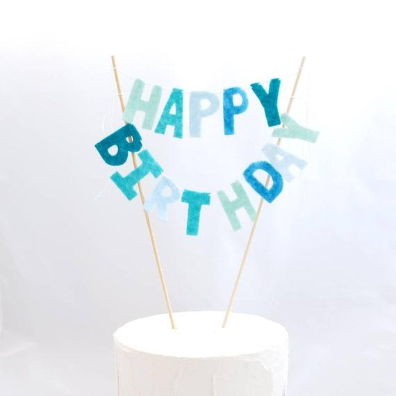 Remarkable Felt Happy Birthday Cake Topper Blue Birthday Banner Aqua Baby Funny Birthday Cards Online Necthendildamsfinfo