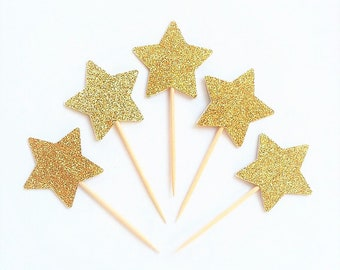 Gold Star Cupcake Topper - Gold Glitter Cupcake Star - Double Sided - Golden Birthday Party Cake Picks - Cupcake Decor Toothpick Gold Party