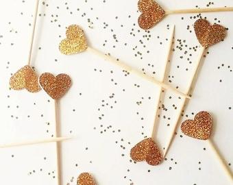 Dozen+ TINY Cupcake Topper Gold Heart Cupcake Topper - Gold Glitter Cupcake Heart - Golden Birthday Party Picks -Cake Topper Toothpick Gold