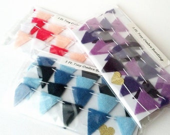 CUSTOM Tiny Felt Bunting  - ANY COLOR Tiny Triangle Garland - Fabric Party Banner - Fabric Birthday Banner - Custom Fabric Bunting 3-12 ft