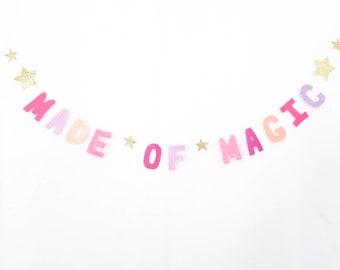 Custom Quote TINY Felt Banner- Made of Magic - Felt Letter Garland - Tiny Felt Bunting Custom - Wish Upon a Star - Pink Gold Star Banner