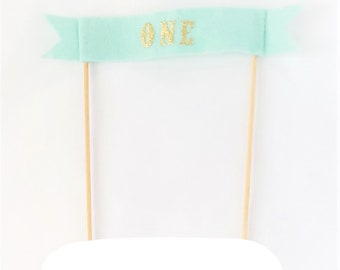 Boy Smash Cake Topper - First Birthday Cake - Mint Cake Topper - ONE Cake Topper Boy - Felt Cake Topper - Fabric Banner Cake Topper + GOLD