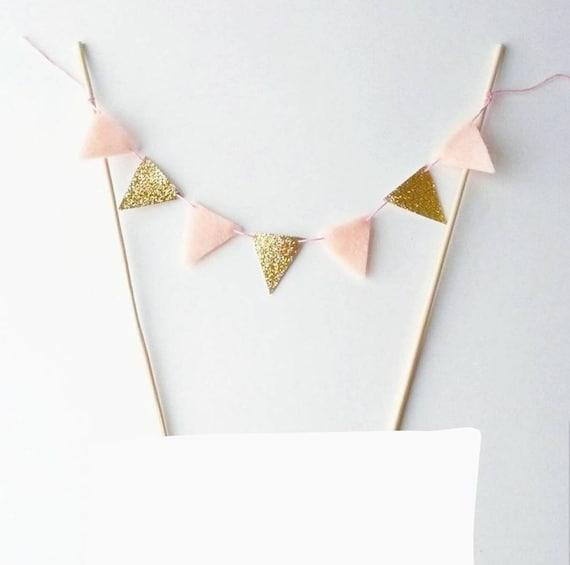 2eb405470 Baby Pink Cake Bunting Felt Bunting Fabric Garland Gold