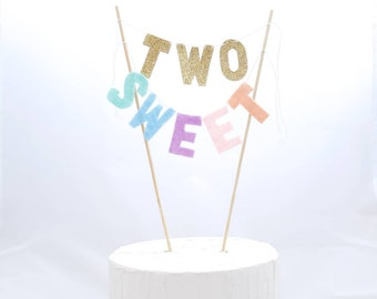 TWO SWEET Cake Topper - Ice Cream Party - Pastel Rainbow -Girls Second Birthday Cake - 2 Sweet Cake Bunting - Rainbow Cake Banner + Two Year