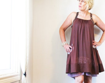 upcycled dress S - M upcycled womens clothing, ethical fashion,  racer back dress . confessions