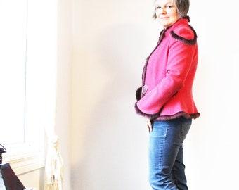 vintage wool blend jacket - M -